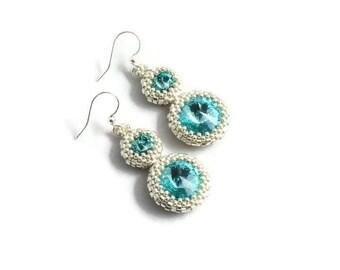 Silver and Blue Beaded Drop Earrings - Seed Bead Beadwork Crystal Jewelry - Swarovski Crystal Turquoise Bridal Earrings - Bridesmaid Gift