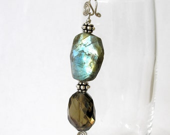 Gemstone Pendant Labradorite Smoky Quartz Sterling Silver Metaphysical Healing Stones