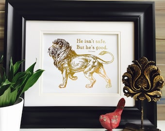 Aslan Lion From Chronicles Of Narnia CS Lewis Books Gold Foil Print Lion Witch Wardrobe Gold Wall Art