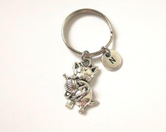 Lovely Cat Keychain, Initial Cat Keychain, Kitty Cat Keyring, Cute Kitten Keyring, Cat Lover Gift, Animal keyring (K72)