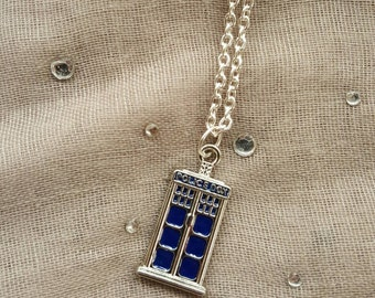 Doctor Who Inspired TARDIS Police Box Necklace