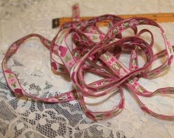 Adorable pink floral ribbon trim