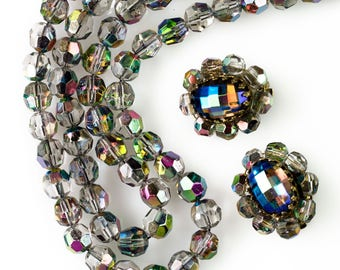 Smoky Gray Aurora Borealis Necklace and Earrings Set | Vintage Demi Parure | Carnival Glass Beads | Multi Strand Necklace