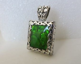 Pendant,Silver,Green,Jewelry Supply,Necklace Supply