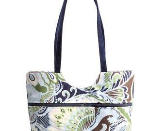 Market Bag, Canvas and Waxed Canvas Bag, Small Tote, Tote Bag, Blue-Brown Bag, City Bag, Travel Bag, Shoulder Bag, Small Diaper Bag,