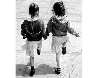 Twins, Girls Skipping, Original  Black and White Photograph, NYC