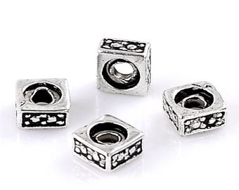 10 washers beads square CADMIUM-free zinc alloy