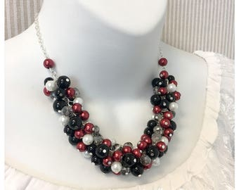 Christmas Jewelry Gift Idea Black Necklace Winter Wedding Red Necklace Cluster Necklace Bridesmaids Gift on a Budget Maid of Honor Necklace