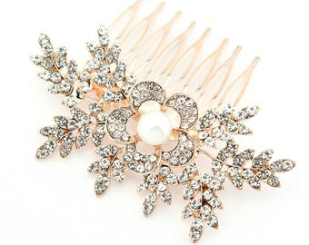 Rose Gold Wedding Hair Accessory, Rose Gold Bridal Hair Clip, Wedding Hair Piece, Bridal Hair Comb, Vintage Wedding Rhinestone Hair Clip