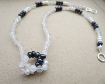 Pearl Quartz Necklace, Pearl Necklace, Pink Necklace, White Pearl Necklace, Black Pearl Necklace, Handmade Necklace, Edinburgh Designer