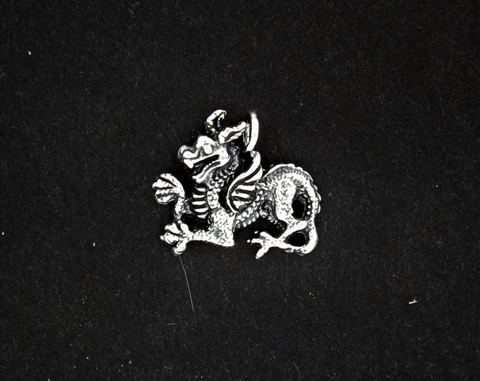 Medieval Dragon Pendant in Sterling Silver