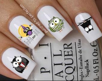 Halloween nail decals #667 cute owls mummy vampire bat witch water  transfers stickers manicure art set x12