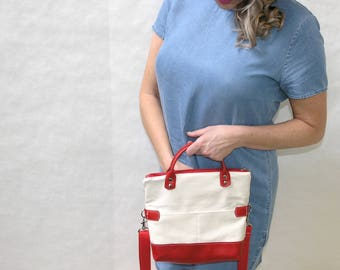 Recycled Leather Crossbody Bag // Leather Foldover Purse // Upcycled Leather Messenger // Red and Cream Leather Bag // Abby Crossbody Bag