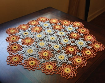 Hand Made Crochet Beaded Doily,Table Toppers