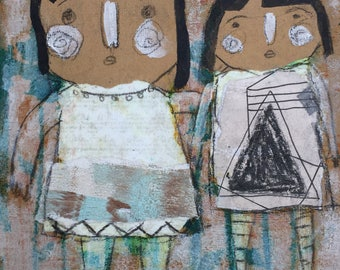 Kids Room Art - Primitive Painting - Outsider Art - Home Decor Art - Outsider Painting - Whimsy Painting