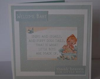 Handmade card Birth Congratulations Baby Boy