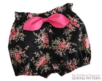 Bloomer pattern pdf,  high waisted bloomer pattern, paper bag bloomer pattern, toddler sewing pattern pdf, BECCA BLOOMERS 2 to 6T