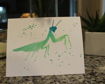 Praying mantis greeting card, blank inside, card with envelope, bug card, watercolor, hand painted, can be customized