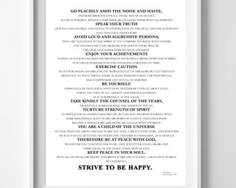 Desiderata A4 Printable Print, Dowloadable,Literary Quote, Wall Art, Wall Art, A4 Instant Download, Printable