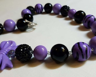 Necklace, purple and black w/purple bows