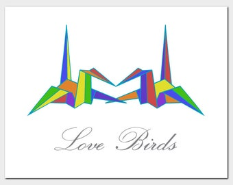 Origami Love Birds Blank Card