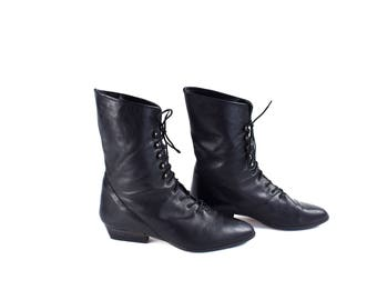 Tall Black Lace Up Leather Ankle Boots, Women's Size 9 M