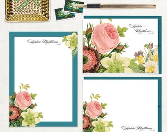 complete personalized stationery set - FLOWER BOUQUET - note cards - notepad - stationary - botanical - floral - flower - pink rose