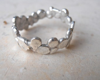 Nature Pebble Ring, organic sterling pebbles, silver dotted ring, custom made, hand casted