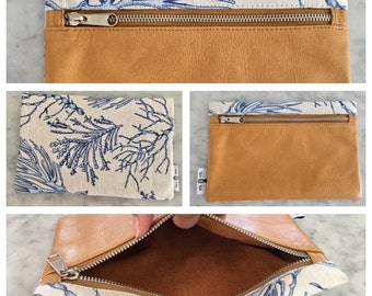 Blue Coral Leather Clutch