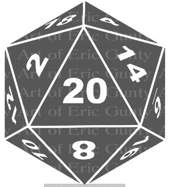 Grey D20 Dice Gaming Birthday - Edible Cake and Cupcake Topper For Birthday's and Parties! - D24127