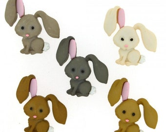 Rabbit Buttons - Dress it Up Hop Hop Buttons - Easter Bunny - Cute Bunny Buttons - Animal Crafts - Woodland Animal Embellishment