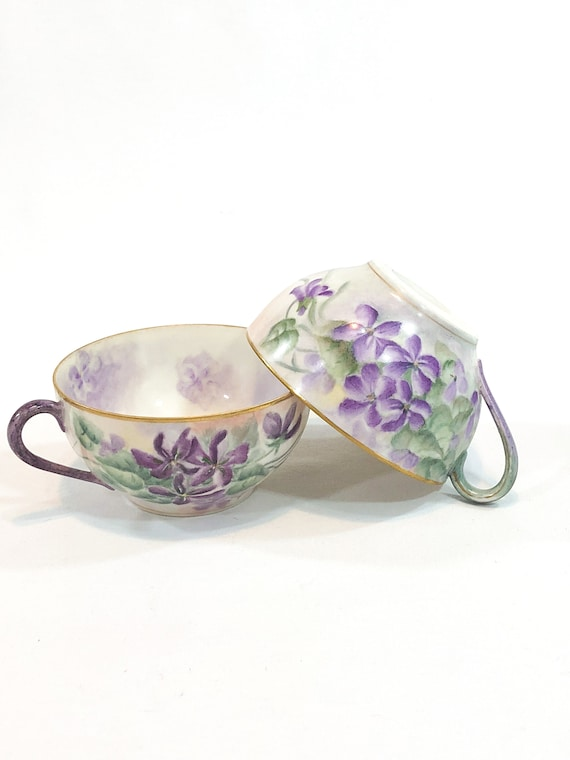 Pair Nippon Hand Painted Tea Cups, No Saucers, Deep Purple Violets, Eggshell China Cups, Mix and Match Shabby Chic, 1930s Vintage