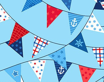 Blue Pennant Flags - First Mate by Deborah Edwards from Northcott Fabrics - Deborah Edwards Fabrics - Kids Fabrics - Fabric by the Yard