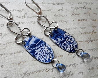 BLUE FOREST- Recycled tin vintage earrings