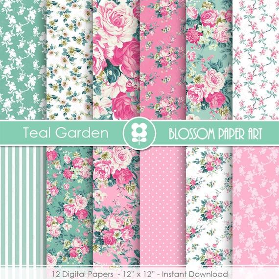 Papeles decorativos flores rosa turquesa floreas papel for Papel de forrar muebles