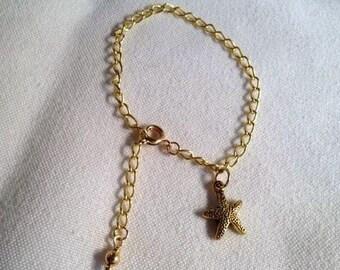 Gold Charm Bracelet Starfish Charm Chain Bracelet Unique Jewellery Children Everyday Unique Wedding Flower Girl