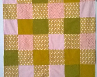 Pink and Gold Baby Quilt Blanket