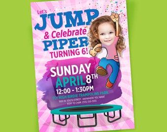 Trampoline Birthday Invitation, Jump birthday invitation, bounce house birthday, trampoline party, bouncy house