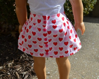 18 inch Doll Clothes - Argyle Hearts Button Skirt  - PINK RED WHITE - love valentine - fits American Girl