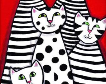 Jazz Cats black white stripes polkadots PRINT Shelagh Duffett