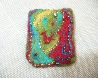 Modern Abstract Art Needle Felted Brooch