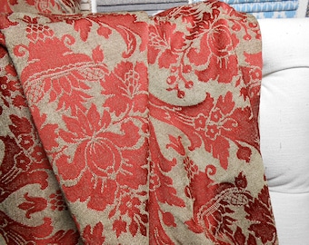 Red Damask Upholstery Fabric, 25 Yard Piece, Home Decor