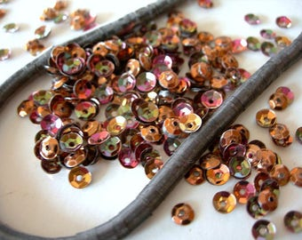COPPER Vintage Sequins Strand 4mm cupped AB Rainbow metallic couture lot Full Strand