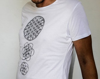 MENS White 'seeds of life' Printed T shirt