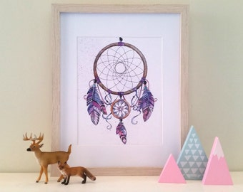 Purple Dreamcatcher Watercolor OR Native American Indian Headdress print, tribal, boho, bohemian, feather, office art, bohochic, watercolour
