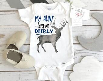 Baby Shower Gift, My Aunt Loves Me Deerly, Nephew Gift, Aunt Onesie®, Auntie shirt, Deer Theme, Auntie Gift, Best Aunt Ever, Newborn Gifts