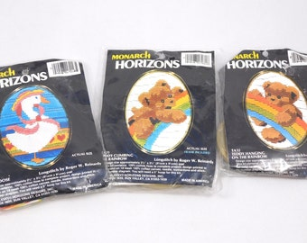 "Three Longstitch Kits, Ornaments, Bears and Rainbows, Lady Goose, Animal Embroidery, Monarch Horizons, 2.5"" x 3/5"","