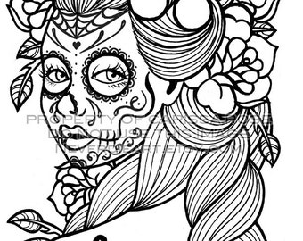 Day dead coloring Etsy