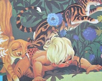 Jungle Nursery Decor Vintage 70s Wall Art Childrens Illustration Tiger Cat Colorful Jane Anne Grahame Johnstone Book Page