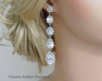 Long bridal earrings Etsy
